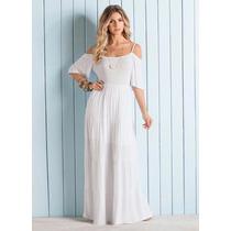 Vestido Feminino Longo Cigana Branco Moda Praia Fim De Ano
