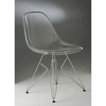 Cadeira Acrílico Transparente Charles Eames Dkr Base Inox