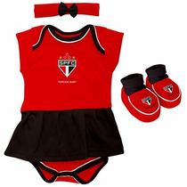 Kit Body Vestido Lacinho E Pantufa São Paulo Fc Torcida Baby