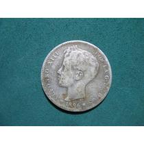 Moneda 1 Una Peseta 1896, España Km# 706 De Plata