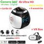 Câmera 360 ° 4k Ultra Hd + Vr Box + 9 Acessórios + Cartão Sd