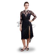 Vestido De Tango Y Noche Color Negro- Encaje - Talle M