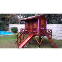 Casa Para Chicos Con Tobogán De Madera + Banco De Madera