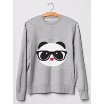 Moletom Gola Careca S/capuz Nerd Panda Blusa De Frio Casaco