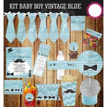 Kit Imprimible Baby Bebe Vintage Little Men Mesa De Postres