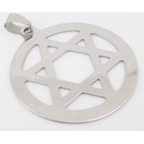 Pingente Medalha Estrela Davi Hexagrama Aço Inox Wicca