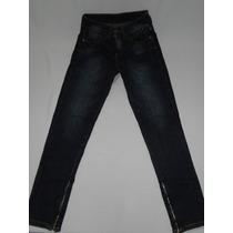 Calça Jeans Cigarrete Com Detalhe Ziper Barra Tam 36