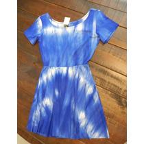 Vestido Curto Taidai Azul Manga Curta