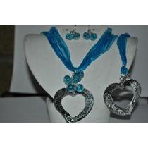 Collar Pulsera Y Aretes De Cristal Con Hilos De Seda D Moda