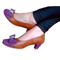 Sandalias Zapatos Stilettos Taco Cuero Punta Redonda Moño