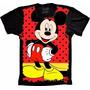 Camisa Mickey Infantil Criança Malha Fria Pv Preta Estampada