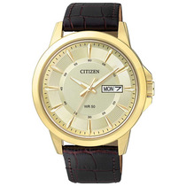 Relógio Masculino Citizen, Pulseira De Couro Tz20528x