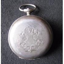 Reloj Longines Antiguo De Bolsillo 3 Tapas Sellado Plata 800