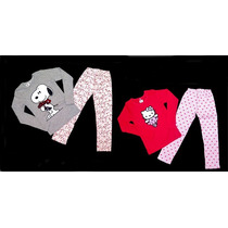 Pijama Nena Invierno Hello Kitty Y Snoopy - Children