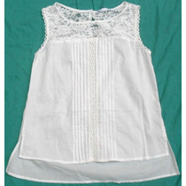 Blusa Camisa Musculosa Blanca Mujer Con Encaje Talle S