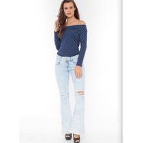 Roupas Femininas/ Calça Flare Jeans Com Detonação Handara