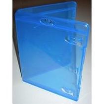 Estojo Capa Dvd Box Blu-ray Azul Simples Grosso 14mm 10 Unid
