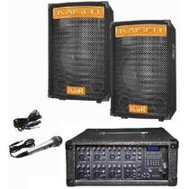 Kit Mezcladora Amplificada 8ch Usb Display 2 Bocinas 15
