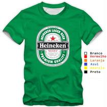 Camiseta Heineken Logo Camisas Cervejas Variadas Cores