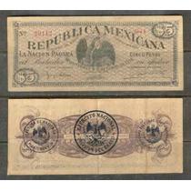 Mi-nue-6 Billete De Nuevo Leon De 5 Pesos