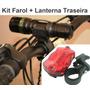 Kit Farol Dianteiro 18000w + Lanterna Traseira P/ Bicicleta