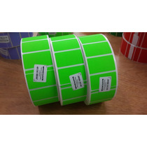 Etiqueta Papel Fluorescente Verde Transferencia 38 X 25 Mm