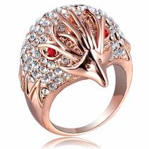 Anillo Bañado Oro Rosado 18k Cristales Swarovski Joyas