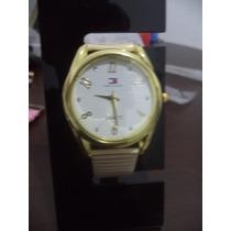 Relógio Feminino Tommy Coroa Dourado Redondo Visor Branco