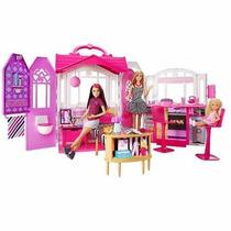 Nova Real Casa De Férias Barbie Portátil Com Boneca Mattel