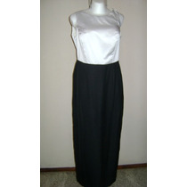 Vestido Largo Negro-blanco Bonito Diseño Talla M Vst538