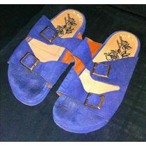 Sandalias Tipo Birkenstock Azul Gamuza Cuero