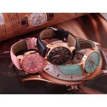 Relógio Quartz Feminino Kit 3 Unds Pulseira Em Couro Geneva