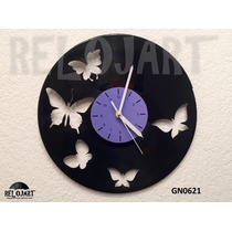 Original Reloj De Pared En Disco De Vinil - Mariposas