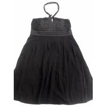 Vestido Solero Corto Strapless Bordado Negro Nuev Tale Unico
