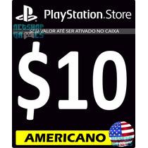 Psn Card $10 Dólar Usd Americana - Cartão Código Play3 Play4