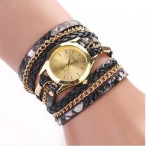 Hermoso Reloj Mujer Pulsera Con Correa Y Cadenas Elegante