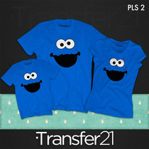 Playeras Combo Familia Elmo Come Galletas Plaza Sesamo