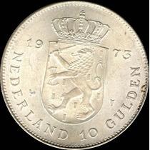 Spg Holanda 10 Gulden 1973 Juliana 25 Años De Reinado Plata