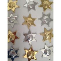 50 Estrella Sheriff Plastico Distintivo Policia Seguridad