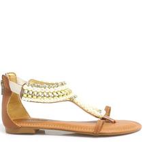 Sandália Zariff Shoes Rasteira Pedras 594   Zariff