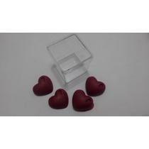 50 Caixinha Acrilico Com 4 Mini Coração Sabonetes
