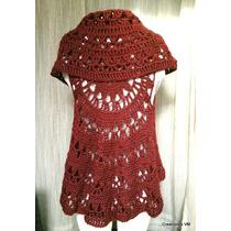 Chaleco Calado Circular Tejido A Crochet. Lana Sedificada.