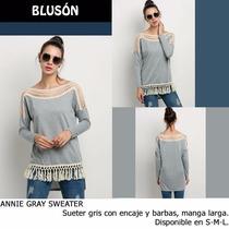 *fashionstore* Annie Gray Sweater. Blusa Gris Calada Barbas.