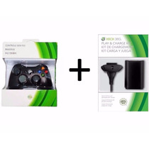 Kit Controle Xbox 360 Sem Fio Wireless + Carregador Bateria