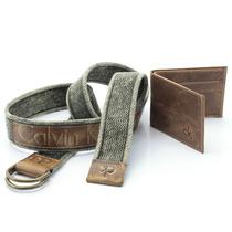 Kit Cinto Masculino Lona+carteira Ck Calvin Klein Couro Luxo