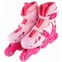 Patins Roller In-line 34 A 37 Rosa Regulável Premium