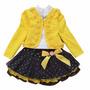 Conjunto Infantil Casaco Amarelo Blusinha Manga Longa Saia