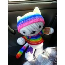 Gato Cabezón Tejido A Mano En Crochet