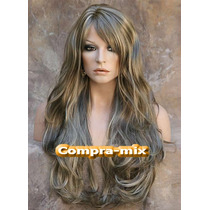 Peluca Super Natural Larga Color Castaño Platinado, Wsl