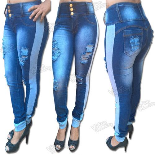f72c8e016 Calça Jeans Feminina Cintura Alta Destroyed E Moletom - R$ 69,90 em Mercado  Livre
